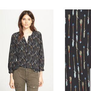 || JOIE || XS Silk Purine Arrow Print Blouse